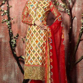 Yellow and Red Floral Zari Embroidered Straight Cut Suit