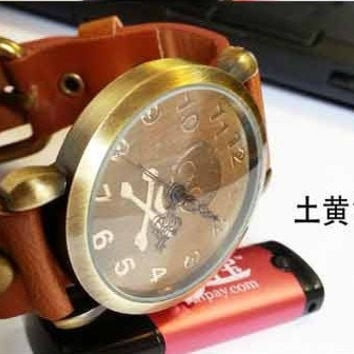 FREE SHIPPING New pirate ship skull  fashion watch quartz watch vintage watch rivet belt leather watch