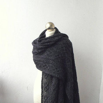 Anthracite hand knitted  merino and alpaca shawl with celtic cable motifs