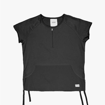 Cut-Off Blocked Kangaroo Sweatshirt Tee in Black