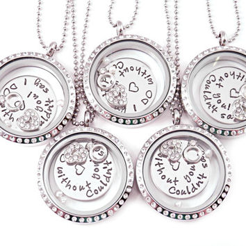 Personalized Bridesmaid Gift Set - Set of 5 Love Lockets - Wedding Party Gifts - Wedding Necklaces - Couldn't Say I DO Without You - Weddin