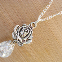 Rose Crystal Crackle Glass Marble Necklace