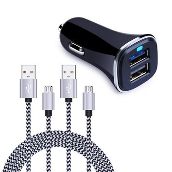 Dual USB Car Charger, FiveBox Phone Car Charger Adapter with 2 Pack Braided Micro USB Charging Cable 6ft Android Charger Cords for Samsung Galaxy S6/S7 Edge, J3 J7, LG stylo 2/3/2 Plus/3 Plus,LG G4 G3