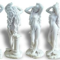 Aphrodite Venus with Long Hair Sculpture 11.25H