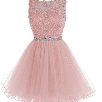 Ubridal Women's Short A line Beaded Prom Dress Tulle Applique Homecoming Party Dress