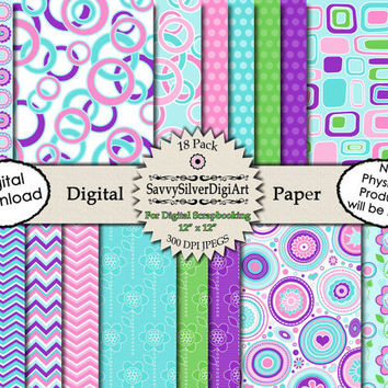Mod Retro Digital Paper - INSTANT DOWNLOAD Pink Purple Blue Green, Mod Circles Squares Flowers Chevron Polka Dots for Scrapbook Paper DP99