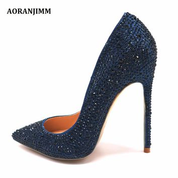 Free shipping real pic dark blue navy crystal rhinestone pointed toe hot sale women lady evening party high heel shoes pump