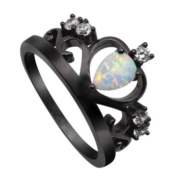 Black Gold Crown Fire Opal Ring