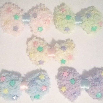 Kawaii Fluffy Bows with Star Detail, Fairy Kei, Mahou Kei, Pastel Kei, Sweet Lolita, Harajuku etc inspired