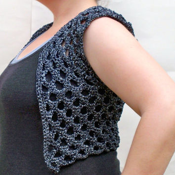 Women's Crochet Bolero - Sleeveless Short Cardigan - Sparkly Shrug In Silver Midnight - Cropped Jacket - Lace Sweater
