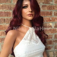 Lara Ombre Burgundy Blend Human Hair Lace Wig 26""