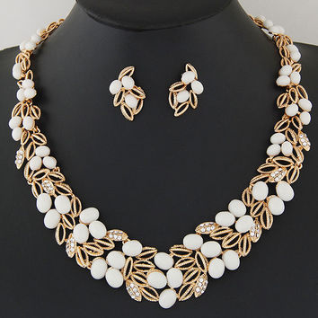 Fashion African Beads Jewelry Set Hollow Out Statement Bridal Jewelry Sets Indian Necklace Earrings Set For Women