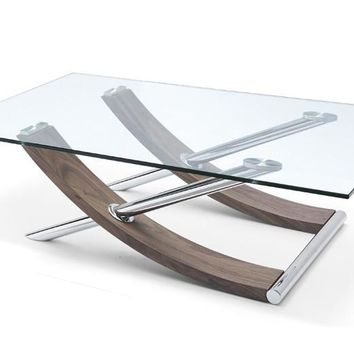 "Robin Coffee Table. 1/2"" clear tempered glass top Natural Walnut veneer. Chrome Legs"