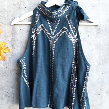 Free People - Glitter City Sequined Tied Mock Neck Tank - Dark Turquoise
