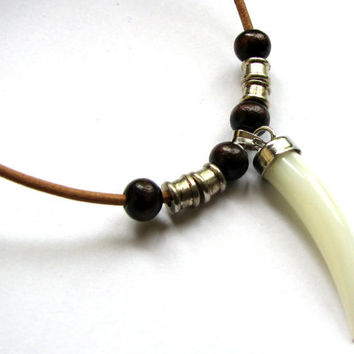 Mens Necklace Leather and Tusk Pendant Bead and Shell Mens Jewelry