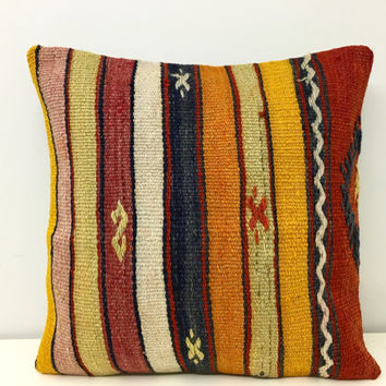 Turkish kilim pillow, Wool pillow, Kilim, Pillow Cover, Outdoor Kilim pillow,Boho pillow, Throw Pillows, Ethnic Pillow, Rug Pillow Cover