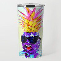 Pineapple Ultraviolet Happy Dude with Sunglasses Travel Mug by bluedarkatlem