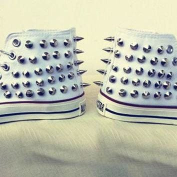 DCCKHD9 Studded High Top Converse Shoes Spiked Converse Sneaker Punk Shoes Custom Steam Punk S