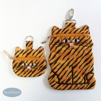 Tiger Stripe Cat Coin Purse, Earbud Pouch or Cell Phone, Zipper Case