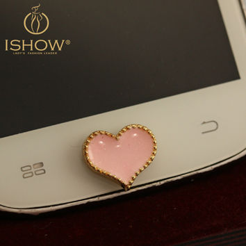 Alloy Bling Heart Shaped Home Button Sticker for Samsung Cute Little Cellphone Accessory for Women