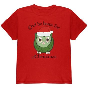 LMFCY8 Owl I'll Be Home For Christmas Cute Funny Pun Youth T Shirt