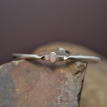 Delicate Sterling Silver and Pink Quartz Open Bangle