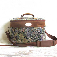 vintage luggage make up bag. shoulder bag. overnight tapestry handbag.