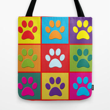 Paw Prints Tote Bag by Miss L In Art