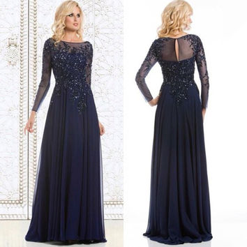 robe de soiree Dark Navy Blue Long Sleeves Evening Dresses Lace Appliques Beaded Formal Dresses Mother of the Bride Dresses