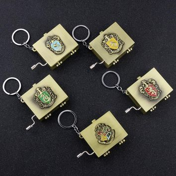 Hogwarts School Badge Crest Keychain Gryffindor Hufflepuff Ravenclaw Slytherin Vingtage Music Box Hand operated Musical Boxes