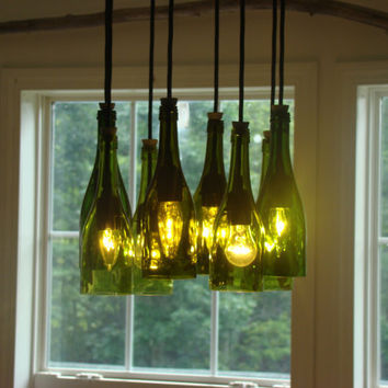 Circle Wine Bottle Chandelier