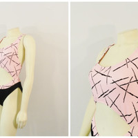 Vintage Swimsuit 80s Cut Out Pink & Black Hi Cut Legs One Piece Bathing Suit Modern Medium