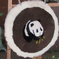 Sheepskin Pillow Cover, Panda Bear Design Pillow Cover, Brown and Creme Colored Cushion Cover, Home Decor, laslovelies