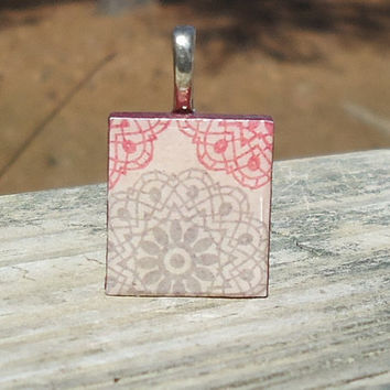 Gray and Pink Scrabble (c) Tile Pendant