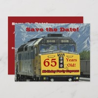 Save the Date 65th Birthday Party Train Postcard