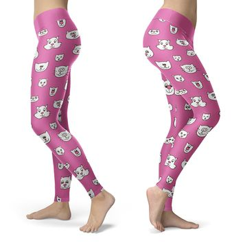 Cute Cat Faces Pink Leggings