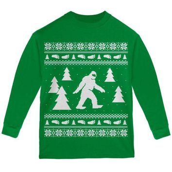 ONETOW Sasquatch Ugly Christmas Sweater Youth Long Sleeve T Shirt