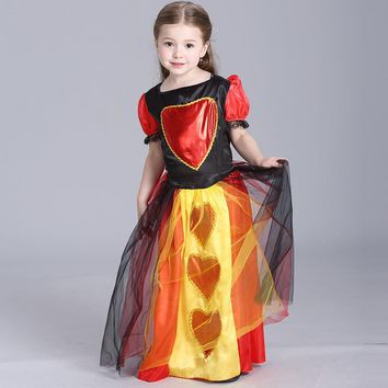 Children Clothing Halloween Girls Dresses Explode Heart Queen Little Girl Performing Princess Costumes  Vestido Princesa