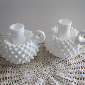 Vintage Fenton Milk Glass Handled Candle Holders Wedding Decor - FL