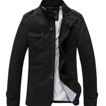 Men's Fall Winter Fashion Brief Style Outwear Large Size Casual Cotton Jacket