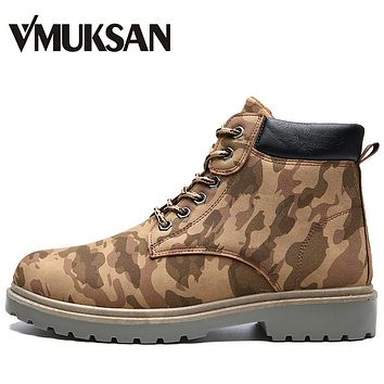 VMUKSAN Military Boots For Men High Quality Winter Motorcycle Boots Men Vintage Lace Up Mens Tactical Boots