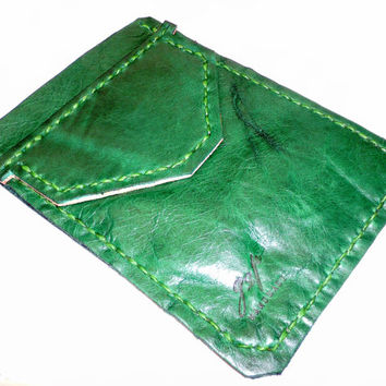 Green Leather Pocket Protector sleeve small