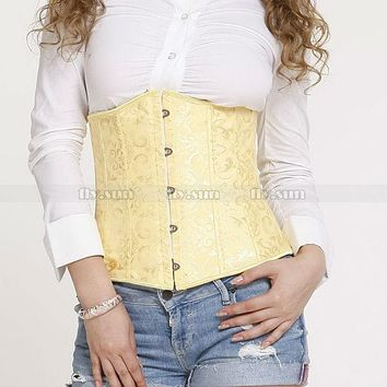 Yellow Full Spiral Steel Boned Waist Trainer Cincher Bridal Waspie Underbust Corset S M L XL 2XL