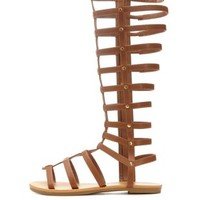 Cognac Knee-High Flat Gladiator Sandals by Charlotte Russe