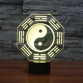 Ying and Yang Symbol 3D LED Lamp