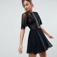 ASOS Dobby Flutter Sleeve Mini Dress with Embellished Trim Panel at asos.com
