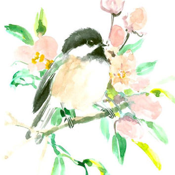 Chickadee original watercolor painting 10 x 8 in bird gift art wall art birding chickadees