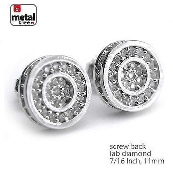 Jewelry Kay style Men's Silver Plated Flat Round Micro Screw Back Stud Hip Hop Earrings BE 028 S