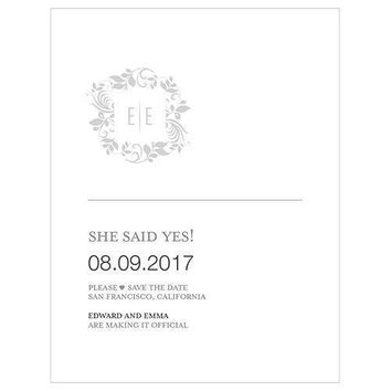 Monogram Simplicity Save The Date Card - Botanical Wreath (Pack of 1)