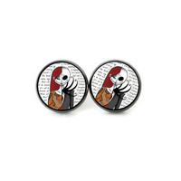 Jack and Sally, Nightmare Before Christmas, Stud Earrings, Goth Halloween Classic Movie Fan Jewelry
